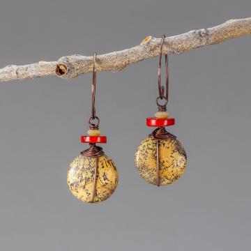 Brown Artistic Jasper Earrings in Copper