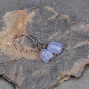 Chalcedony Nugget Earrings, Sterling Silver