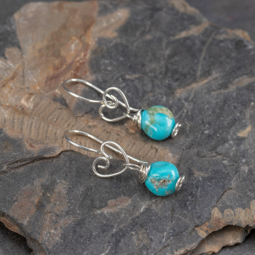 Argentium Silver Heart Earrings with Campitos Turquoise Pebble