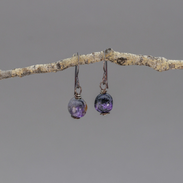 Blackened Sterling Silver Purple Stone Earrings