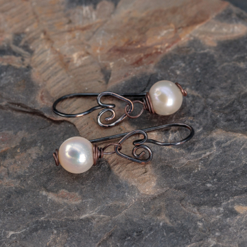 Dark Copper Heart Earrings with Cream Color Potato Pearls