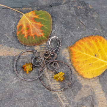 Copper Hoop Dangle Earrings with Amber Gemstones