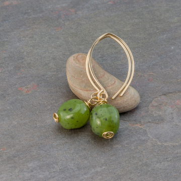 Green Jade Earrings Handcrafted in 14k Yellow Gold Filled Wire