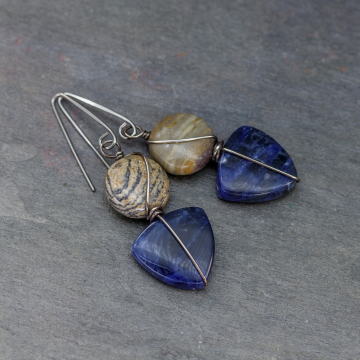 Blue Stone Earrings with Nickel-Free Hooks