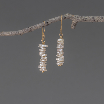 White Keshi Pearl Earrings in Yellow Gold Filled