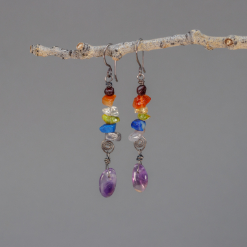 Rainbow Gemstone Earrings with Amethyst Drop