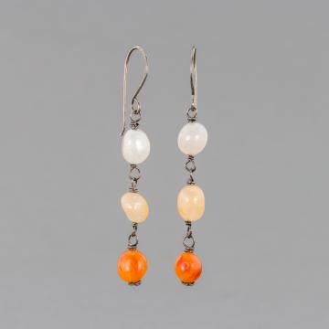 Red Agate Dangle Earrings in Sterling Silver