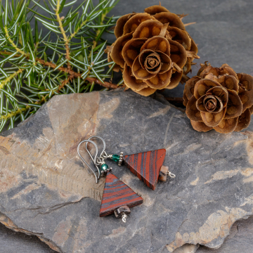 Red Jasper Stone and Green Crystal Holiday Earrings