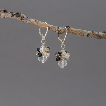 Black White and Grey Gemstone Cluster Earrings in Sterling Silver