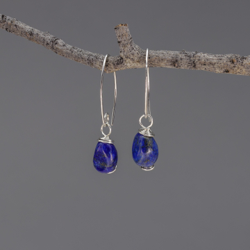 Royal Blue Lapis Lazuli Earrings in Sterling Silver