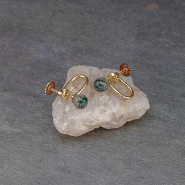 Moss Agate Gemstone Sphere Earrings Non-pierced