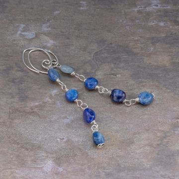 Kyanite Silver Linear Earrings