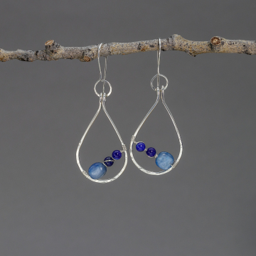 Artisan Sterling Silver Raindrop Hoop Earrings