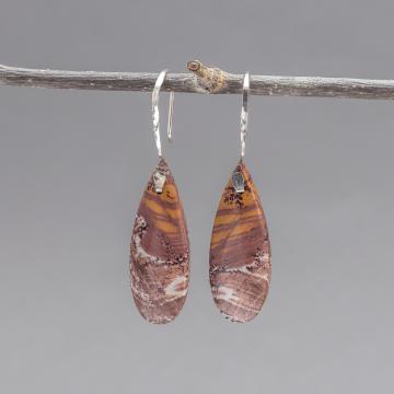 Orange White Maroon Stone Earrings in Sterling Silver