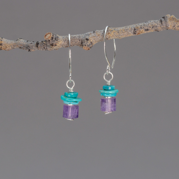 Faceted Amethyst Tubes with Genuine Turquoise Disks Beaded Earrings