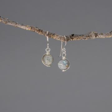 Gray Blue Stone Earrings