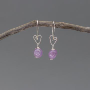 Rustic Silver Heart Earrings with Lavender Amethyst Pebbles