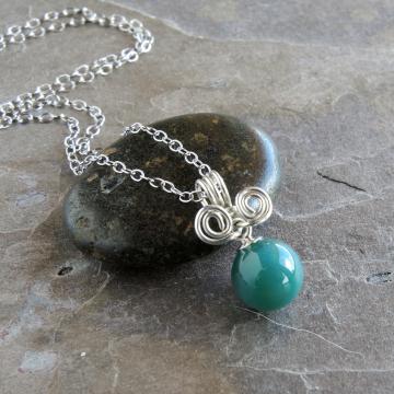 Green Gemstone Sphere Necklace Sterling Silver
