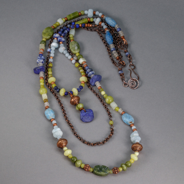 Long Boho Necklace with Green and Blue Semiprecious Gemstones