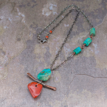 Zen Necklace in Mixed Metals and Natural Stone