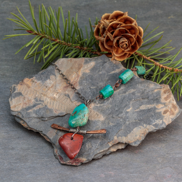 Copper and Sterling Silver Necklace with Red Jasper