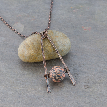 Red Leopardskin Jasper Necklace in Antiqued Copper