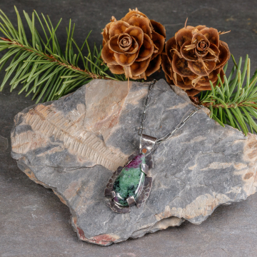 Oxidized Sterling Silver Pendant with Ruby Zoisite Stone