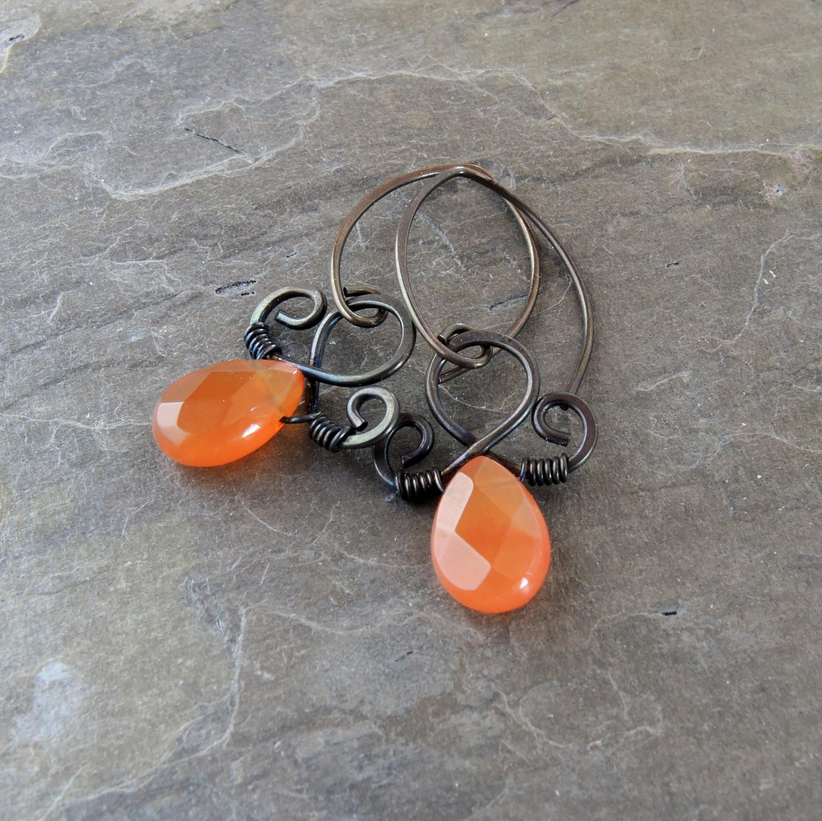 4635355dd Orange Stone Earrings, Citrus Orange Earrings. Dainty Drop Earrings with  Fancy Wire Scrollwork. Copper Wire Wrapped Carnelian Earrings