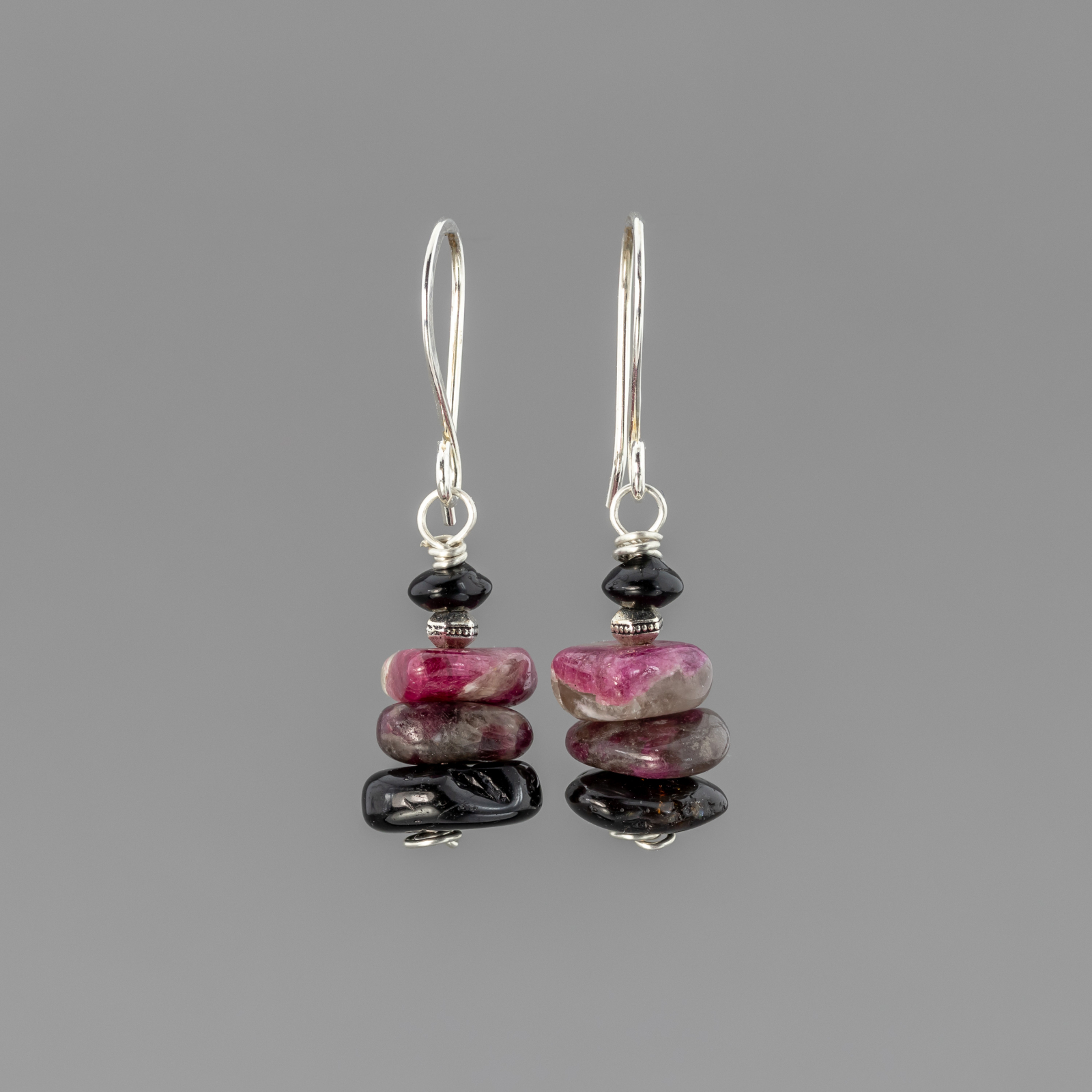 Black And Pink Tourmaline Earrings Stacked Stone Design