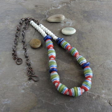Colorful African Bead Necklace with Lapis and Howlite Natural Stones