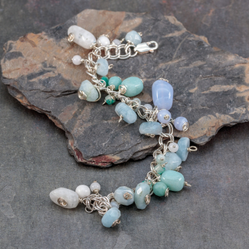 Natural Stone Bracelet in Pastel Blue and Aqua Colors, Sterling Silver Wire Wrapped Boho Charm Bracelet
