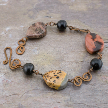 Jasper Stone and Copper Link Bracelet, Woman's Bracelet for Small Wrist, Multicolored Artistic Jasper