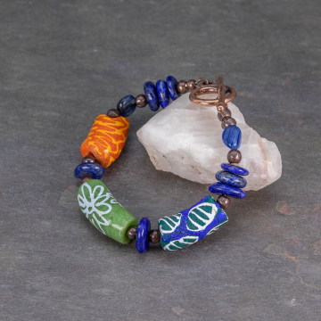 Colorful Krobo Bead Bracelet with Lapis and Kyanite Gemstones
