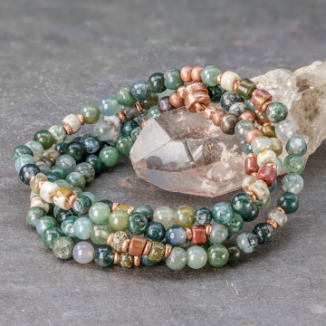 Moss Agate Natural Stone Bracelet, Green Wrap Bracelet with Stones