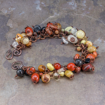 Gemstone Charm Bracelet, Multi Stone Boho Bracelet in Copper, Red Black Yellow Natural Stone Charms