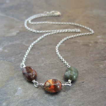 Cherry Creek Jasper Necklace, Earthy Red and Grey Pebble Trio Necklace