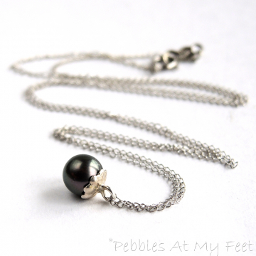Minimalist Pearl Necklace, Sterling Silver Barely There Pearl Necklace with Black Pearl