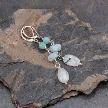 Aquamarine Earrings with Amazonite and Moonstone, Sky Blue Stone Earrings