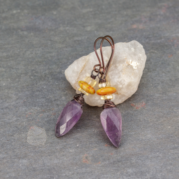 Purple and Yellow Stone Earrings, Citrine and Amethyst Earrings in Copper