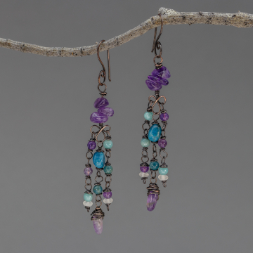 Teal, Aqua, and Purple Natural Stone Earrings, Long Dangle Earrings, Copper Wire Wrapped Apatite and Amethyst Earrings