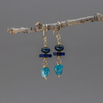 Apatite and Lapis Earrings in 14k Gold Filled Wire, Handcrafted Dangle Earrings with Blue and Teal Natural Stones