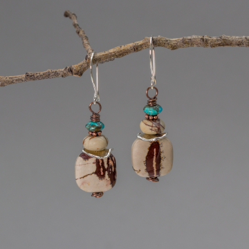 Gray Jasper and Turquoise Beaded Earrings, Mixed Metal Earrings with Jasper Stones