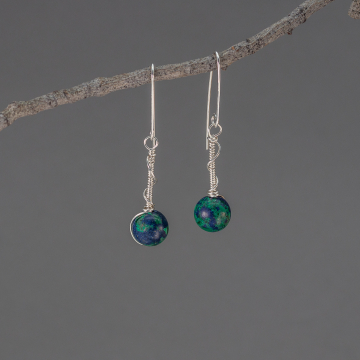 Sterling Silver Coiled Wire Drop Earrings, Blue Planet Earrings with Azurite Malachite Stones