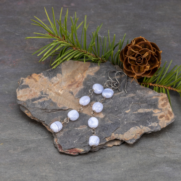Linear Earrings with Blue Lace Agate Pebbles, Airy Blue Stone Earrings in Dark Patina Sterling Silver