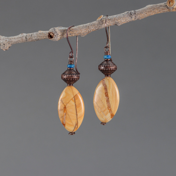 Big and Bold Beaded Earrings, Stone Bead Earrings with Denim Lapis, Picture Jasper, and Rustic Copper Beads