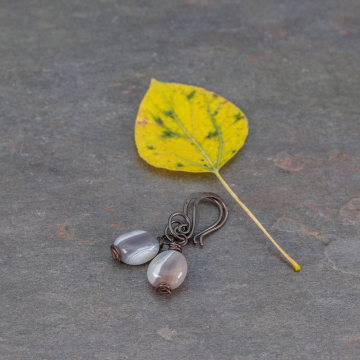 Natural Botswana Agate Pebble Earrings, Little Copper Earrings with Brown Grey White Striped Stones