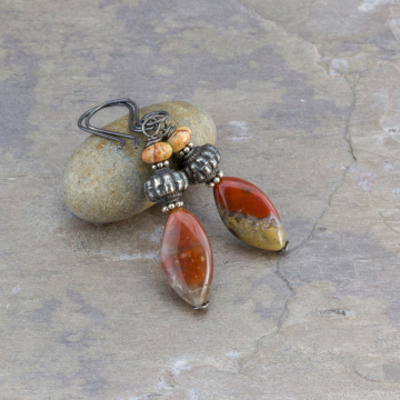 Earthy Red and Brown Chalcedony Earrings with Jasper and Oxidized Sterling Silver Accents, Stone Beaded Tribal Earrings