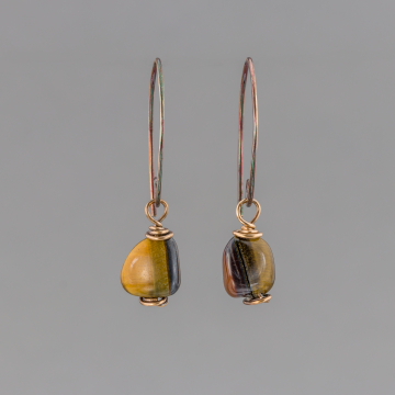 Brown Tigers Eye Pebble Earrings in Bronze, Small Rustic Golden Brown Stone Earrings
