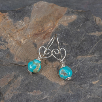 Genuine Turquoise Earrings on Handcrafted Ear Wires with Heart Motif, Campitos Turquoise Pebble Earrings