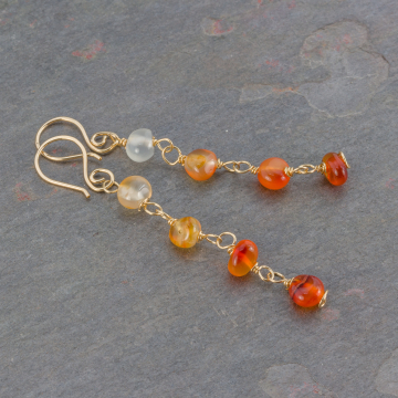 Linked Stone Dangle Earrings, Natural Carnelian Earrings Handcrafted in 14k Gold Filled